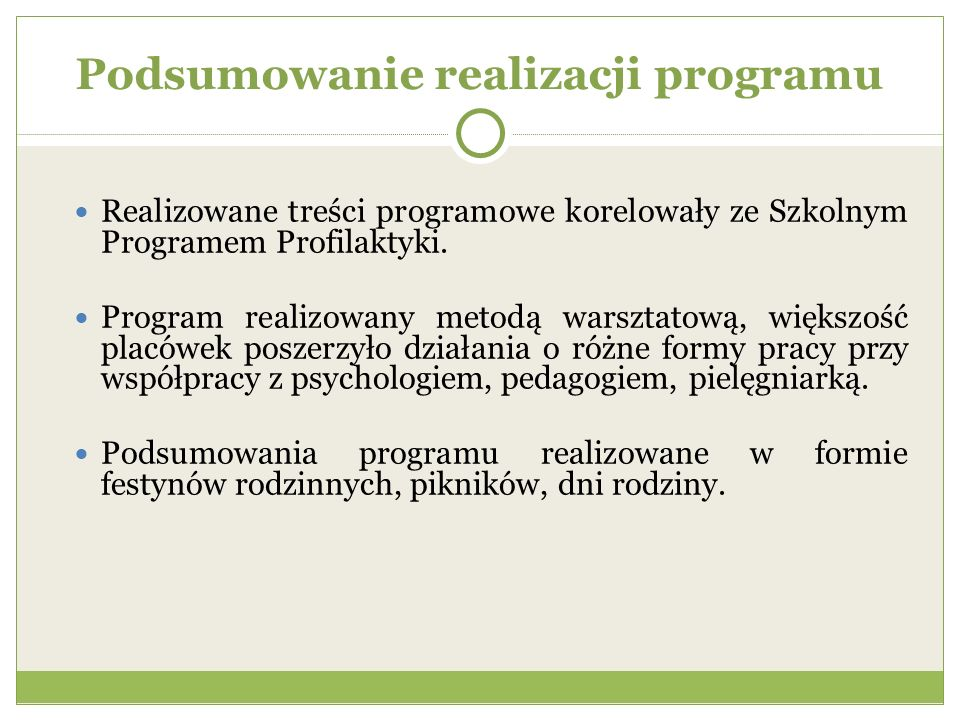 Podsumowanie realizacji programu