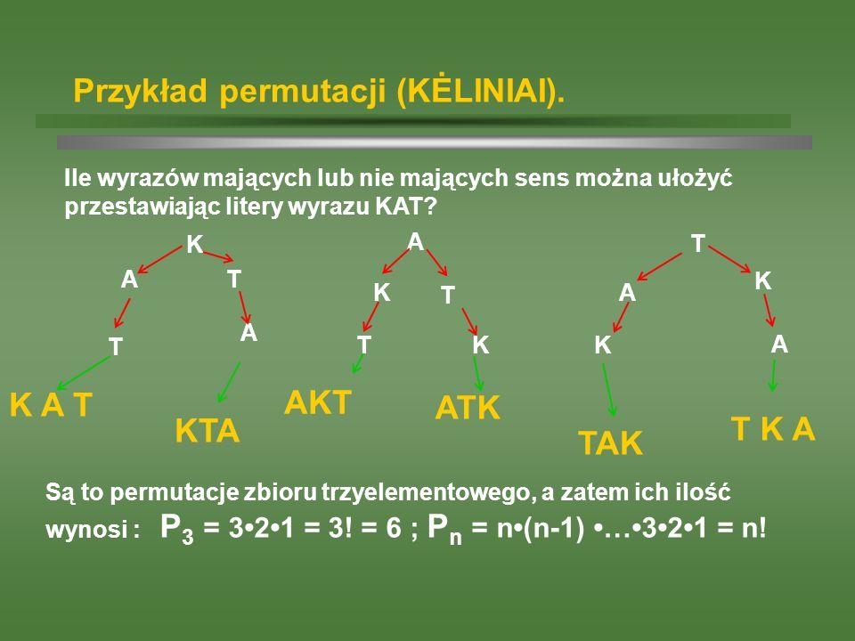 Przykład permutacji (KĖLINIAI).