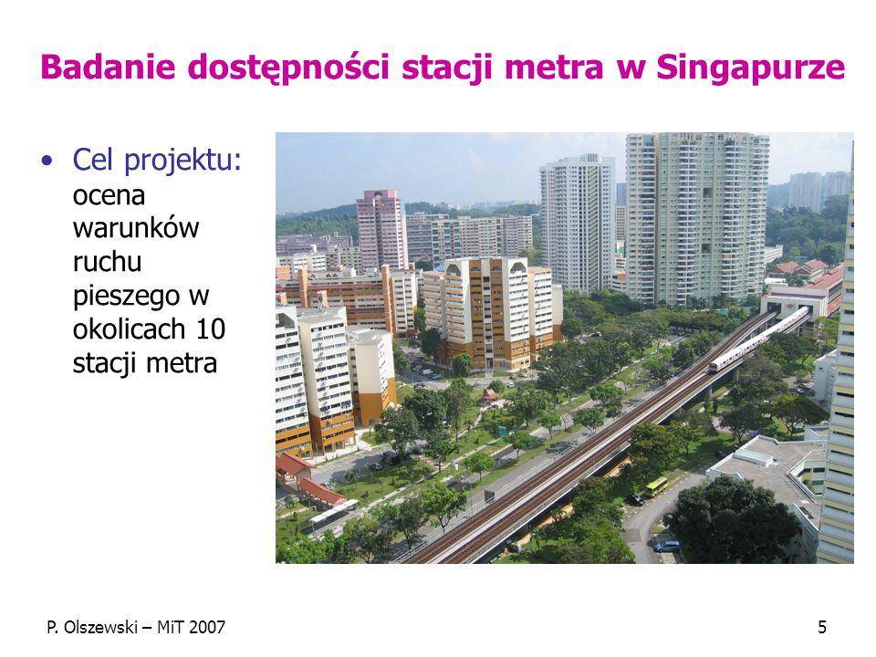 Badanie dostępności stacji metra w Singapurze