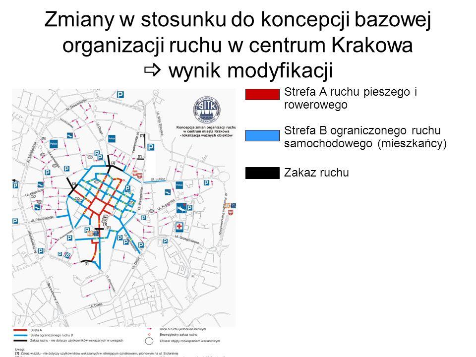 Zmiany w stosunku do koncepcji bazowej organizacji ruchu w centrum Krakowa  wynik modyfikacji