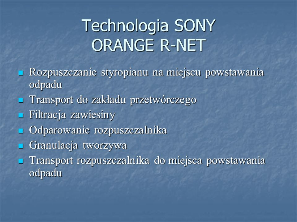 Technologia SONY ORANGE R-NET