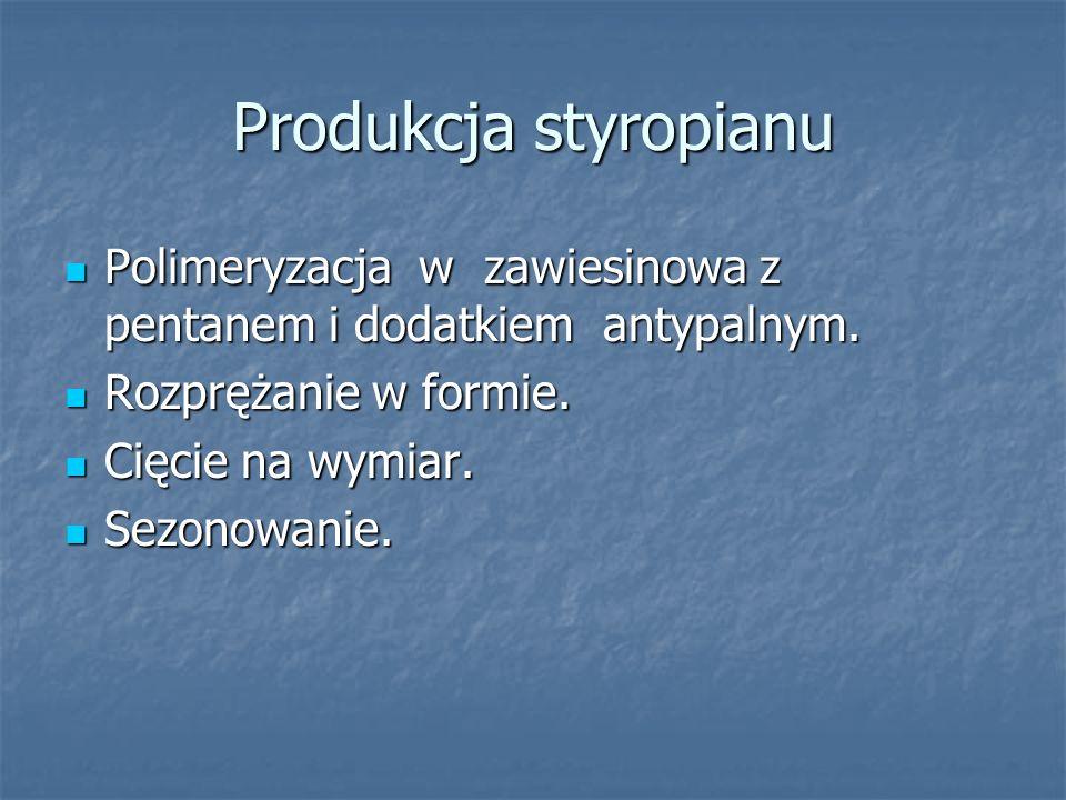 Produkcja styropianu Polimeryzacja w zawiesinowa z pentanem i dodatkiem antypalnym. Rozprężanie w formie.