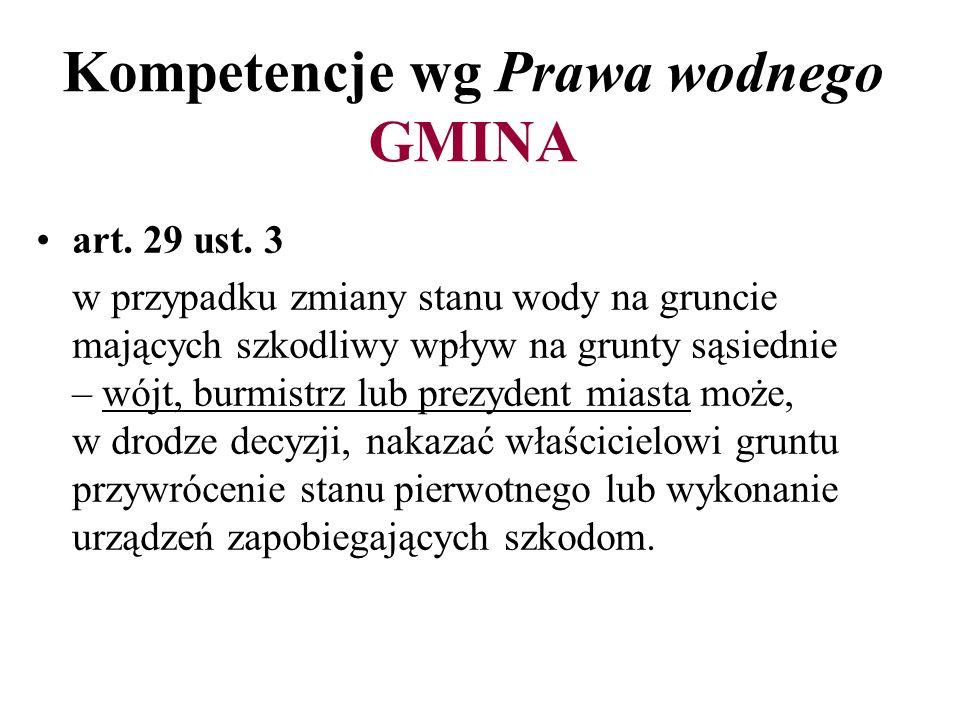 Kompetencje wg Prawa wodnego GMINA