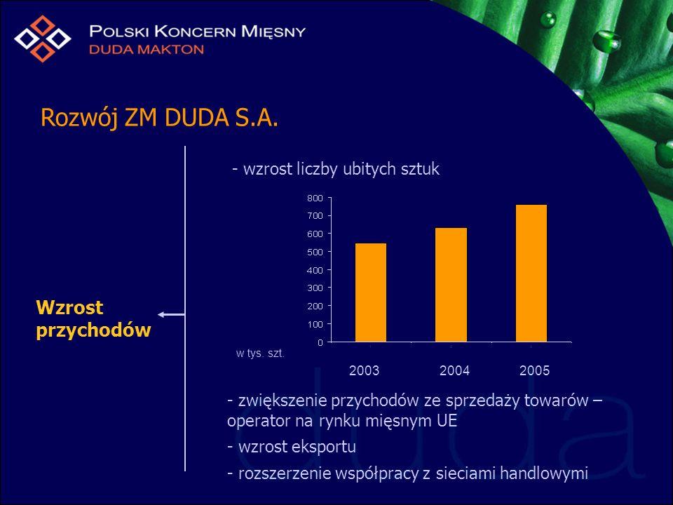 Rozwój ZM DUDA S.A. Wzrost przychodów