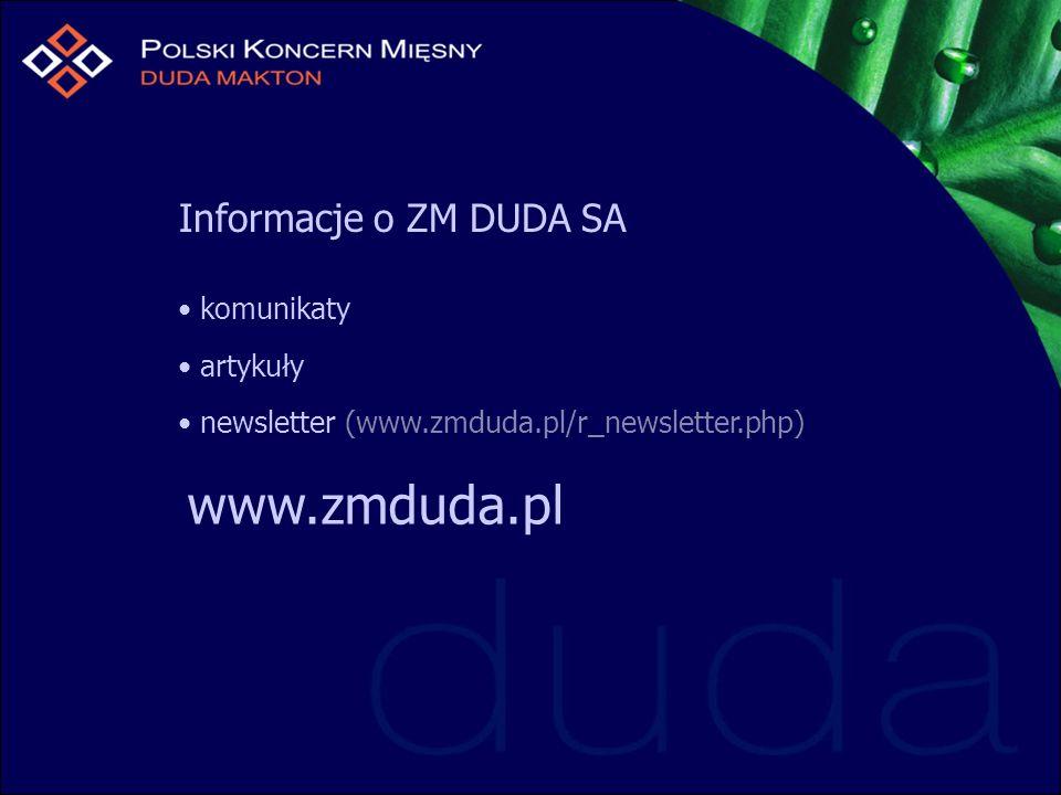 Informacje o ZM DUDA SA komunikaty artykuły