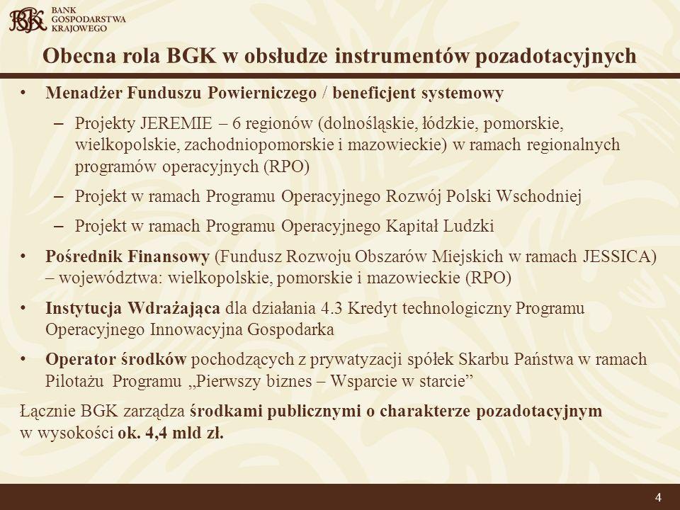 Obecna rola BGK w obsłudze instrumentów pozadotacyjnych