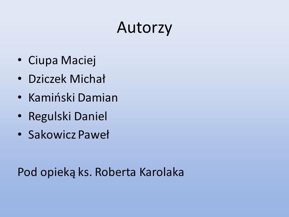 Autorzy Ciupa Maciej Dziczek Michał Kamiński Damian Regulski Daniel