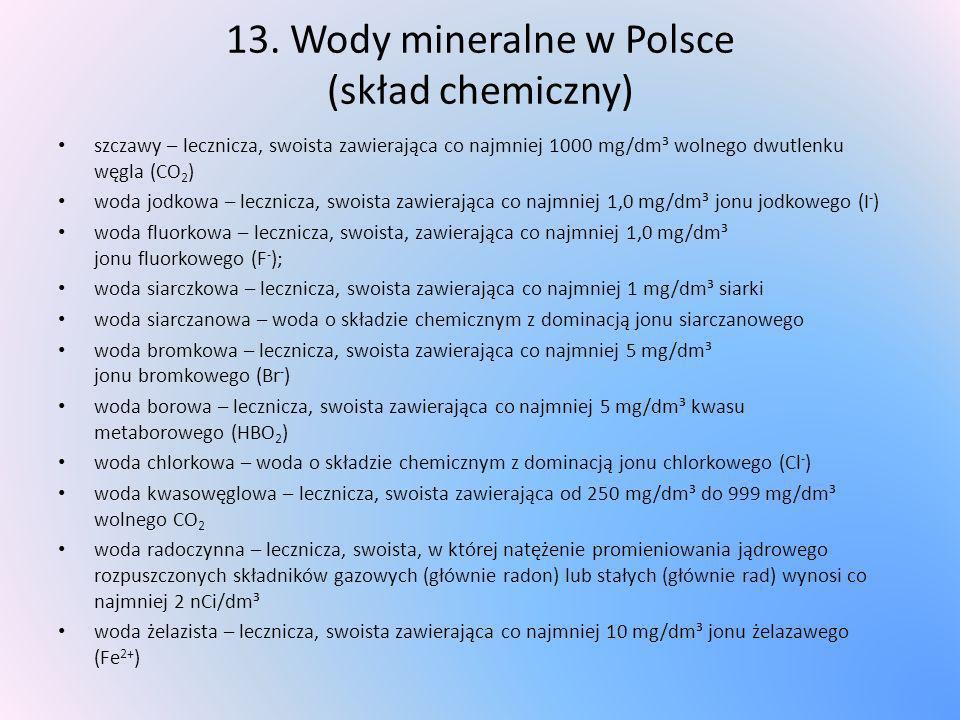 13. Wody mineralne w Polsce (skład chemiczny)