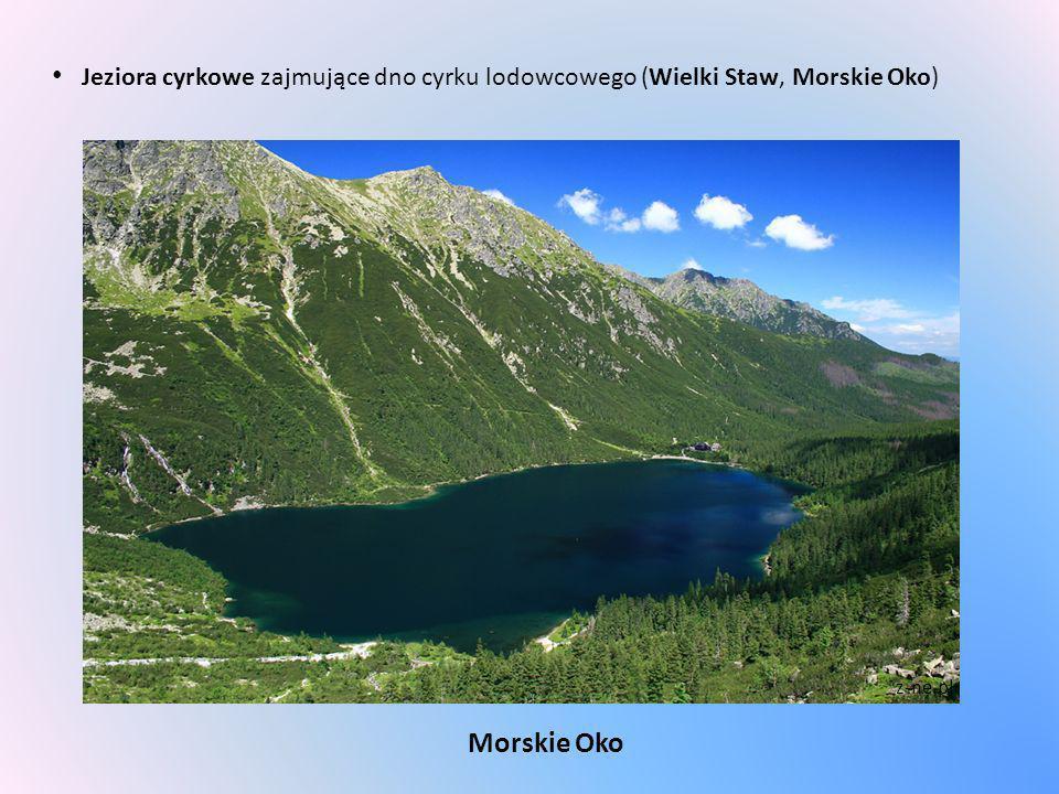 Jeziora cyrkowe zajmujące dno cyrku lodowcowego (Wielki Staw, Morskie Oko)