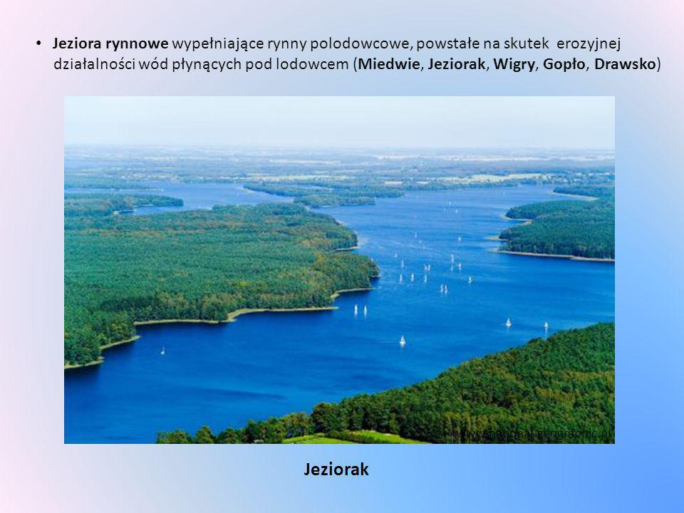 Jeziora rynnowe wypełniające rynny polodowcowe, powstałe na skutek erozyjnej działalności wód płynących pod lodowcem (Miedwie, Jeziorak, Wigry, Gopło, Drawsko)