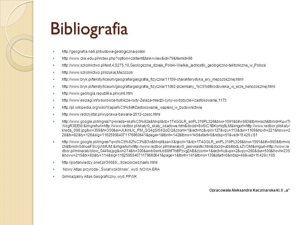 Bibliografia http://geografia.na6.pl/budowa-geologiczna-polski