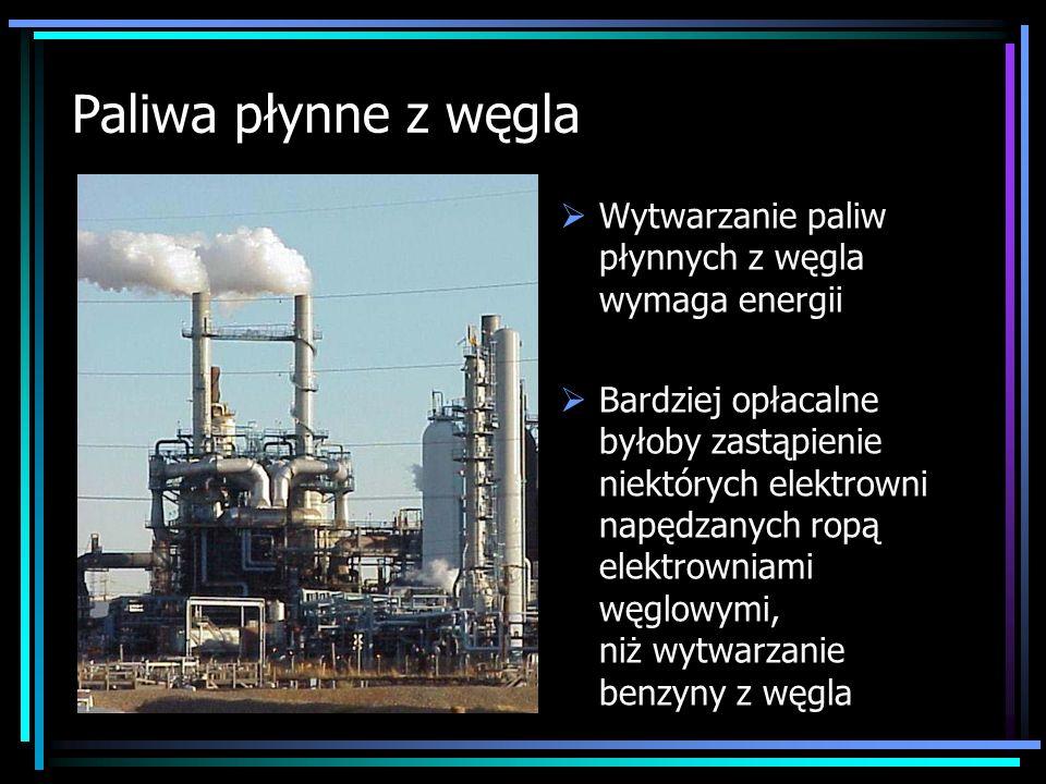 Paliwa płynne z węglaWytwarzanie paliw płynnych z węgla wymaga energii.