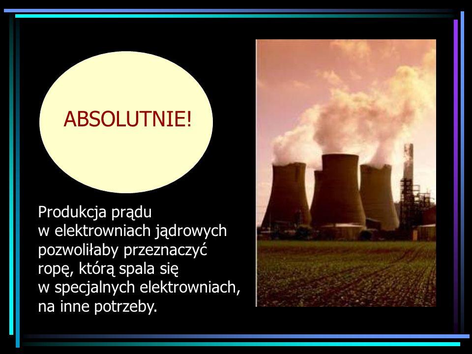 ABSOLUTNIE!Produkcja prądu w elektrowniach jądrowych pozwoliłaby przeznaczyć ropę, którą spala się w specjalnych elektrowniach, na inne potrzeby.