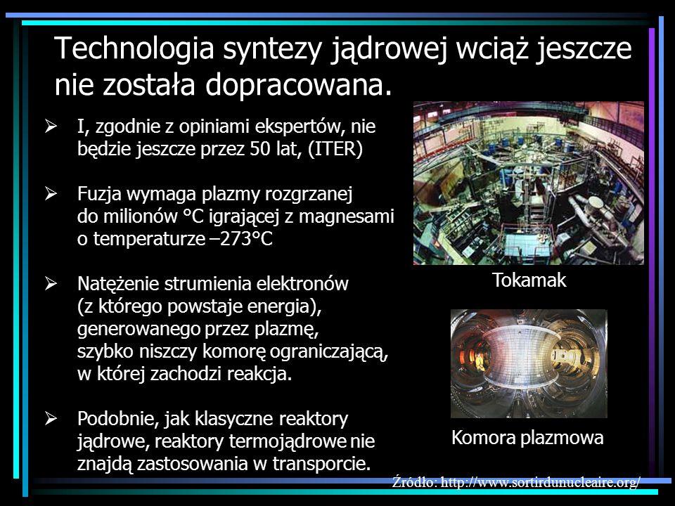 Technologia syntezy jądrowej wciąż jeszcze nie została dopracowana.