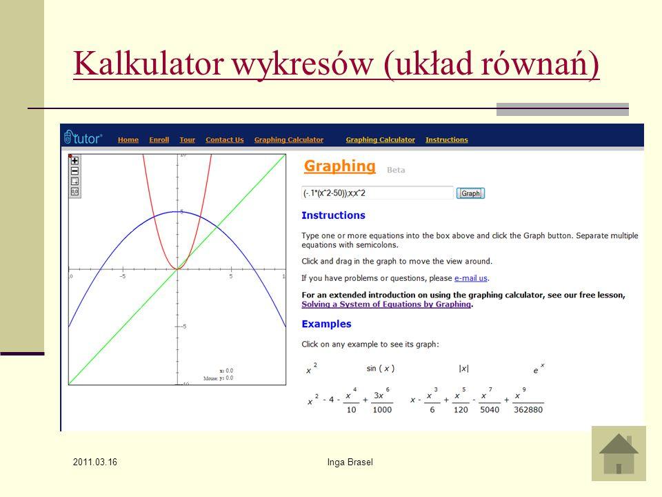 Kalkulator wykresów (układ równań)