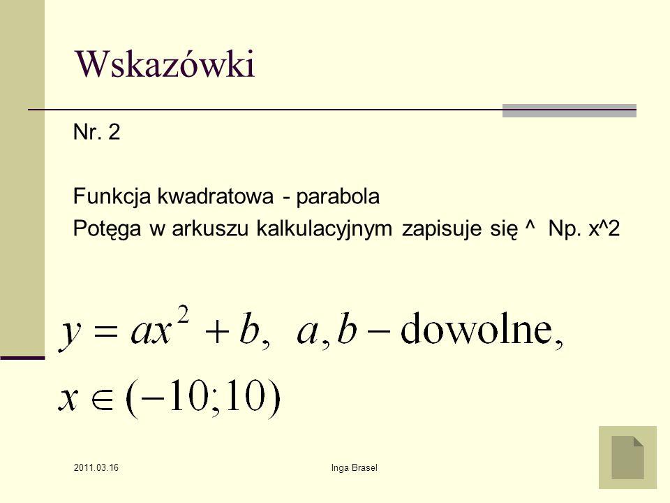 Wskazówki Nr. 2 Funkcja kwadratowa - parabola