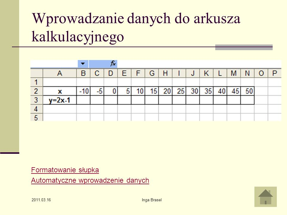 Wprowadzanie danych do arkusza kalkulacyjnego
