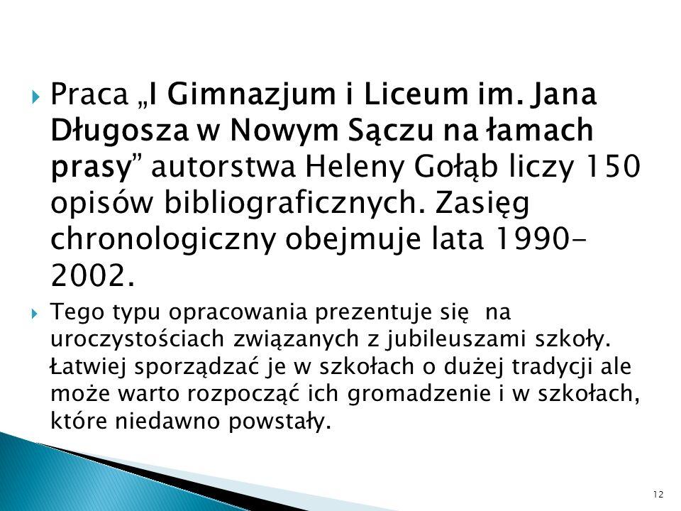 "Praca ""I Gimnazjum i Liceum im"