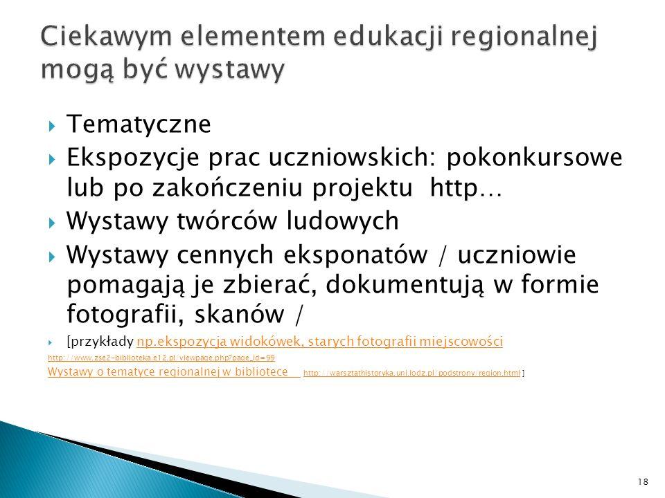 Ciekawym elementem edukacji regionalnej mogą być wystawy