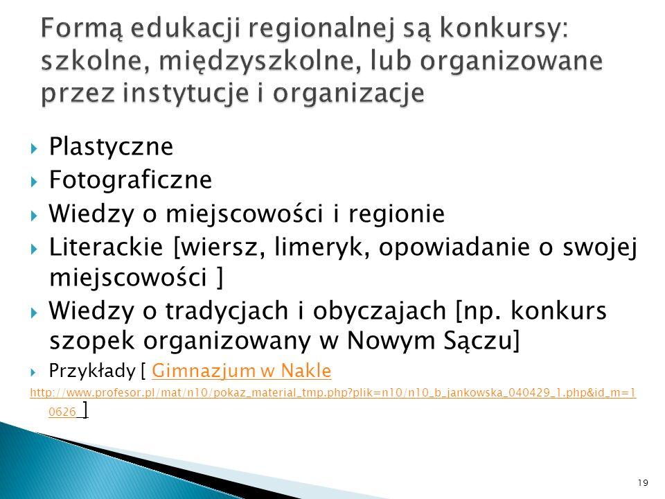 Formą edukacji regionalnej są konkursy: szkolne, międzyszkolne, lub organizowane przez instytucje i organizacje