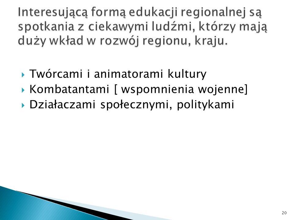 Interesującą formą edukacji regionalnej są spotkania z ciekawymi ludźmi, którzy mają duży wkład w rozwój regionu, kraju.