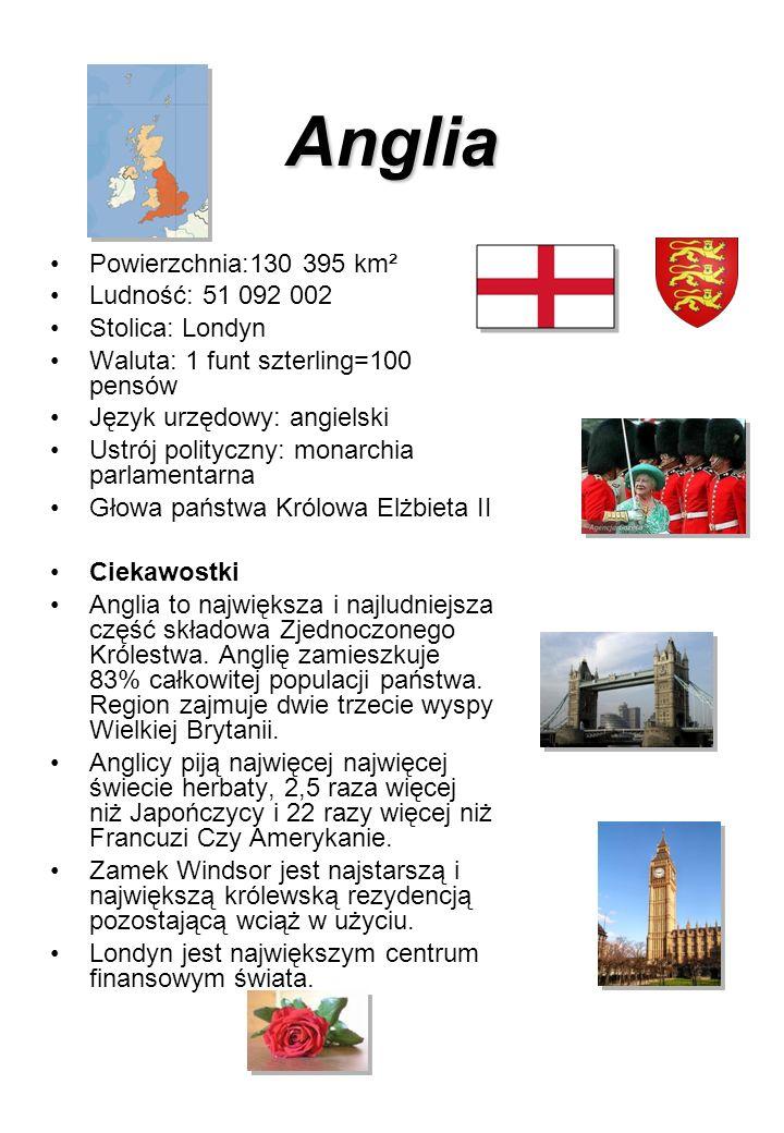 Anglia Powierzchnia:130 395 km² Ludność: 51 092 002 Stolica: Londyn