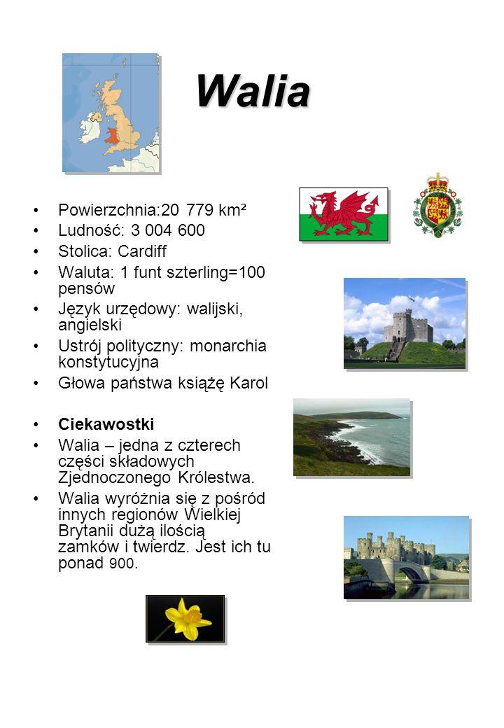 Walia Powierzchnia:20 779 km² Ludność: 3 004 600 Stolica: Cardiff