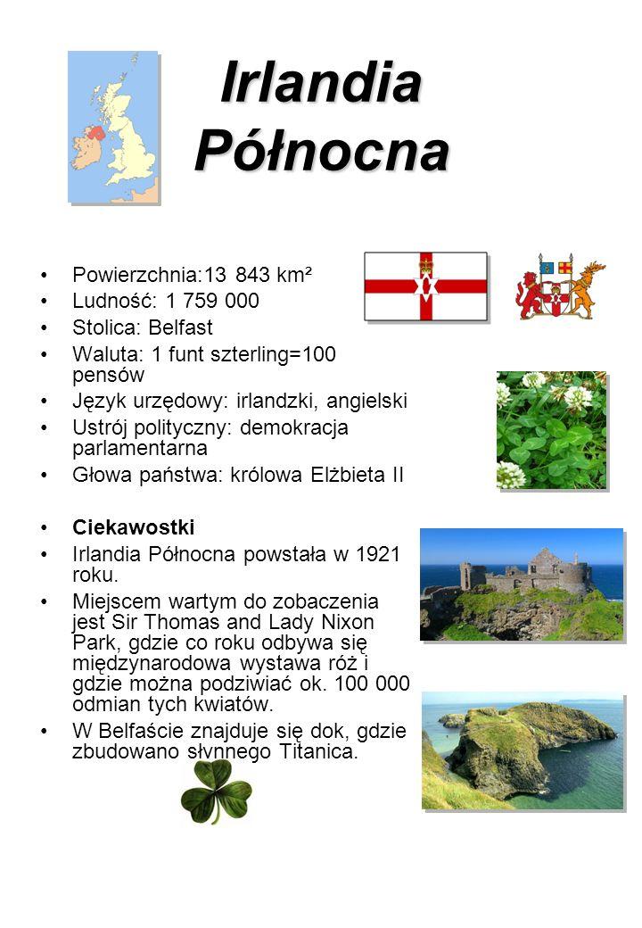 Irlandia Północna Powierzchnia:13 843 km² Ludność: 1 759 000