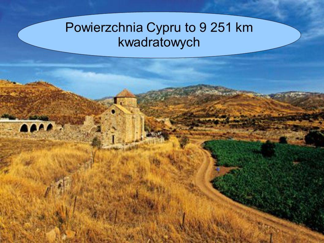 Powierzchnia Cypru to 9 251 km kwadratowych
