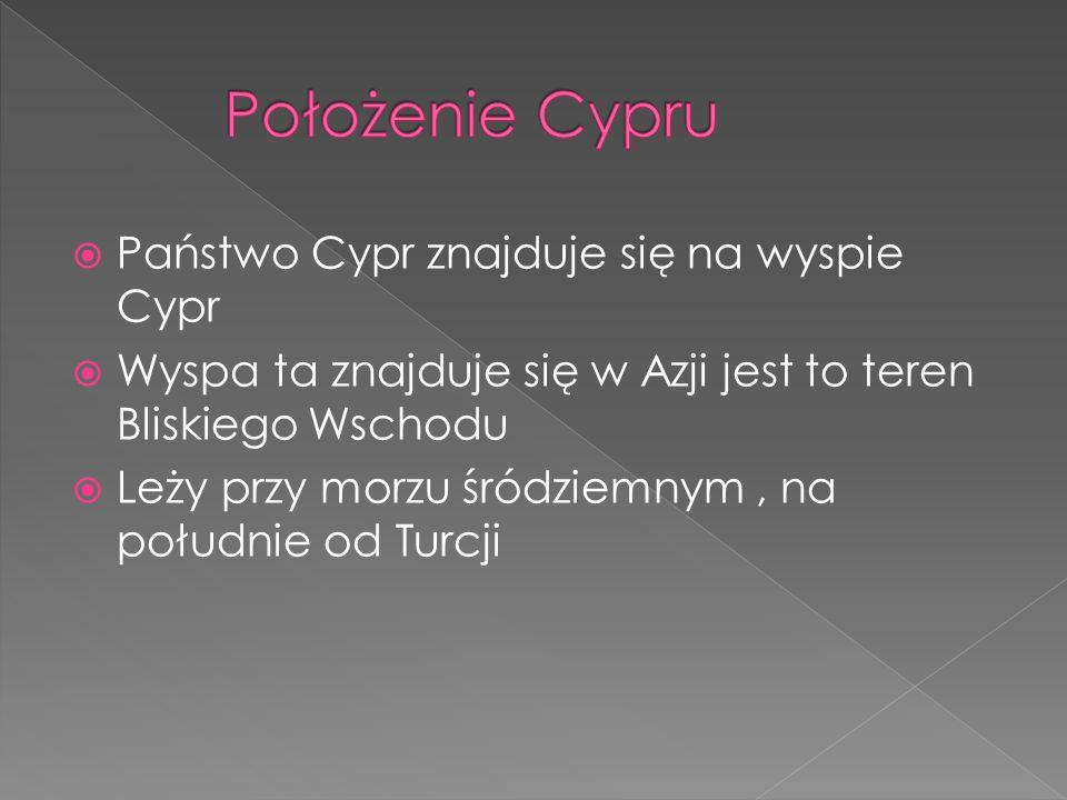 Położenie Cypru Państwo Cypr znajduje się na wyspie Cypr
