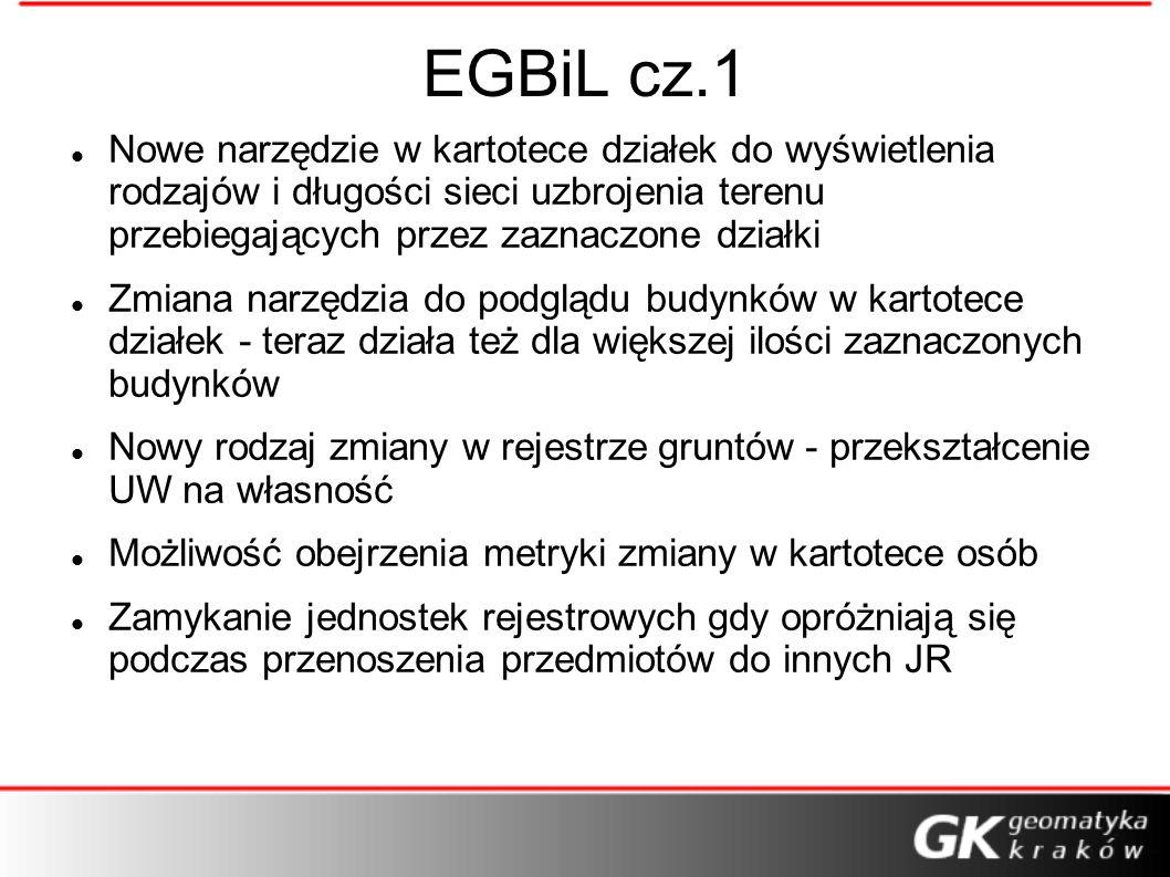 EGBiL cz.1 Nowe narzędzie w kartotece działek do wyświetlenia rodzajów i długości sieci uzbrojenia terenu przebiegających przez zaznaczone działki.