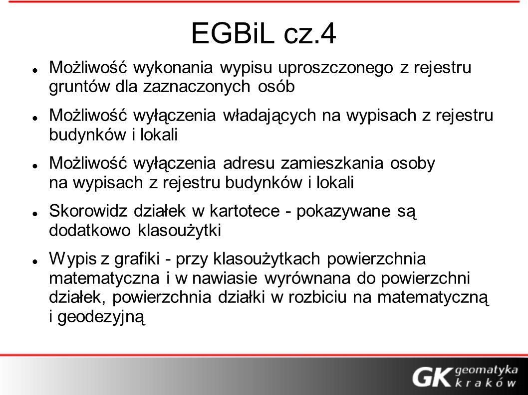 EGBiL cz.4 Możliwość wykonania wypisu uproszczonego z rejestru gruntów dla zaznaczonych osób.