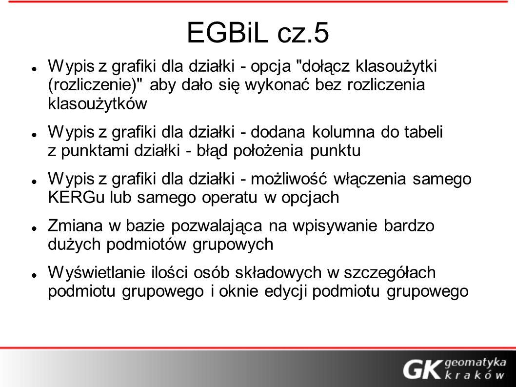 EGBiL cz.5 Wypis z grafiki dla działki - opcja dołącz klasoużytki (rozliczenie) aby dało się wykonać bez rozliczenia klasoużytków.