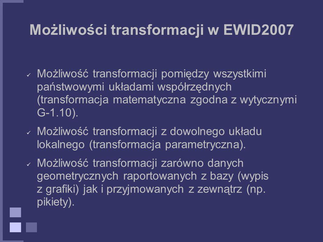 Możliwości transformacji w EWID2007