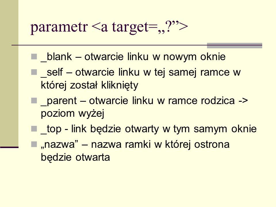 """parametr <a target="""" >"""