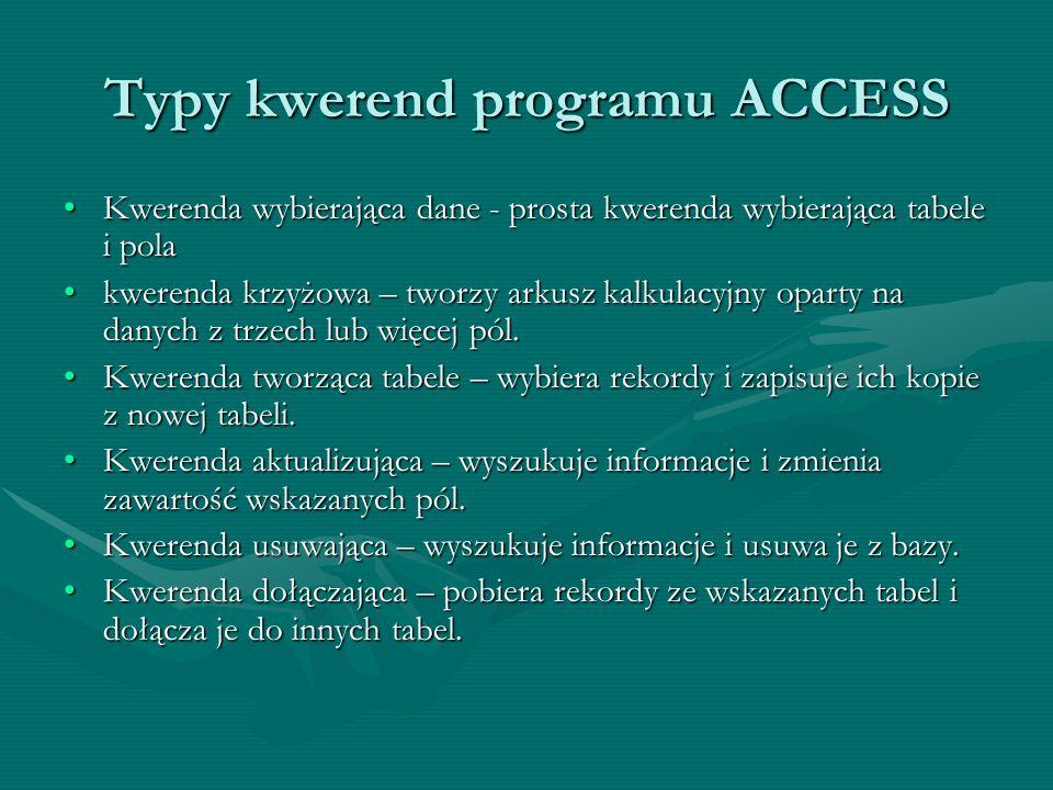Typy kwerend programu ACCESS