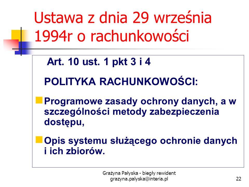 Ustawa z dnia 29 września 1994r o rachunkowości