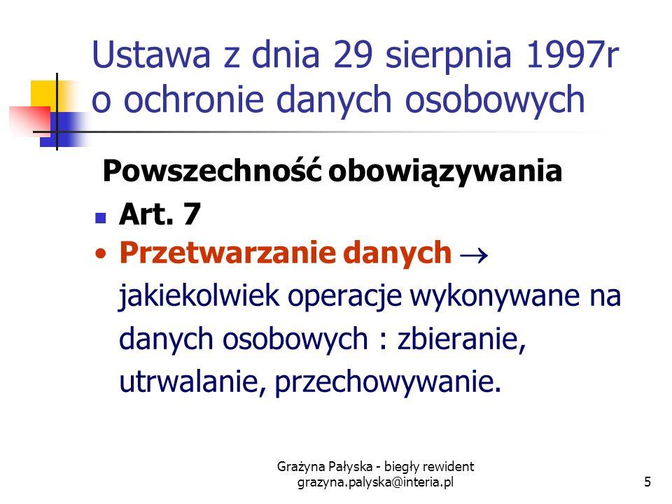 Ustawa z dnia 29 sierpnia 1997r o ochronie danych osobowych