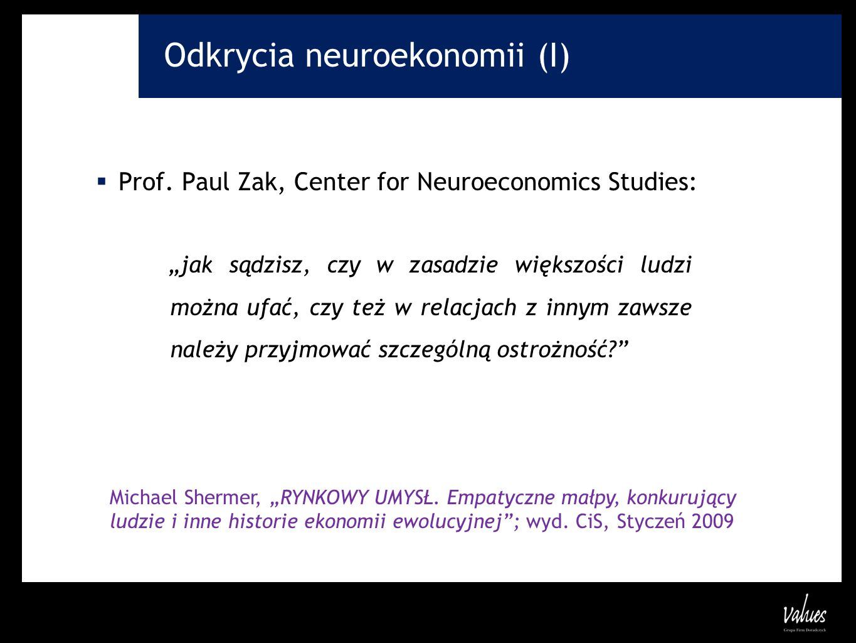 Odkrycia neuroekonomii (I)