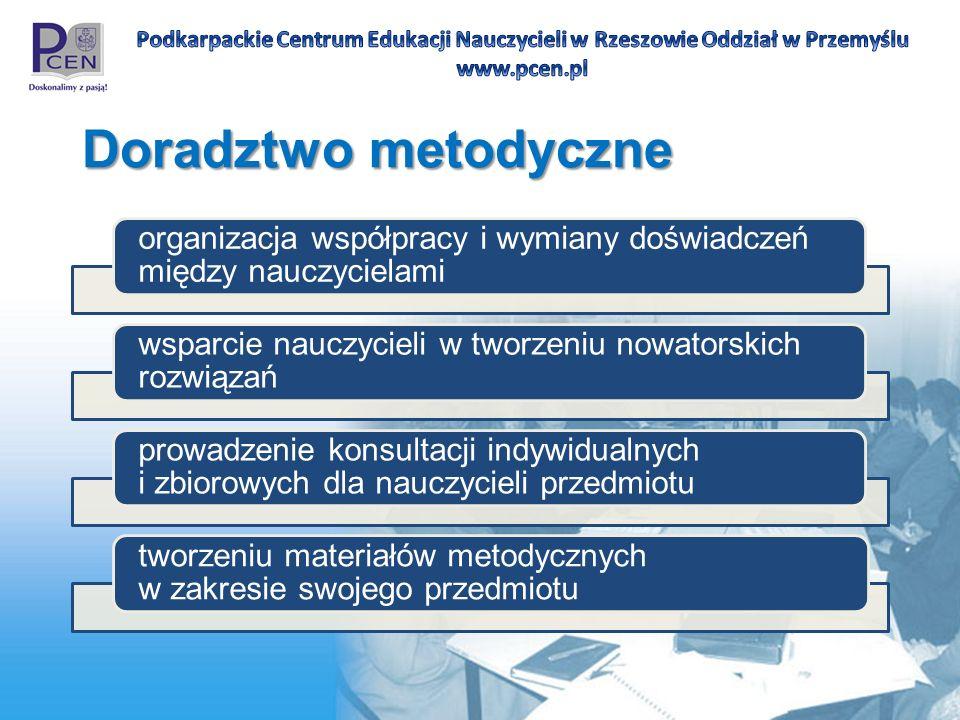 Doradztwo metodyczne organizacja współpracy i wymiany doświadczeń między nauczycielami. wsparcie nauczycieli w tworzeniu nowatorskich rozwiązań.