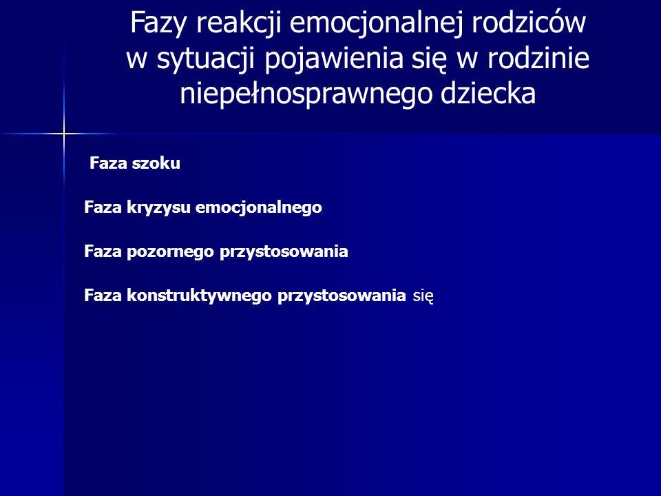 Fazy reakcji emocjonalnej rodziców w sytuacji pojawienia się w rodzinie niepełnosprawnego dziecka
