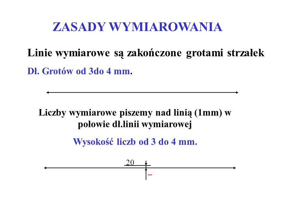 Liczby wymiarowe piszemy nad linią (1mm) w połowie dł.linii wymiarowej