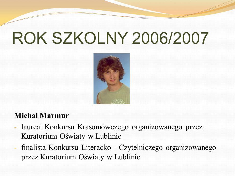 ROK SZKOLNY 2006/2007 Michał Marmur