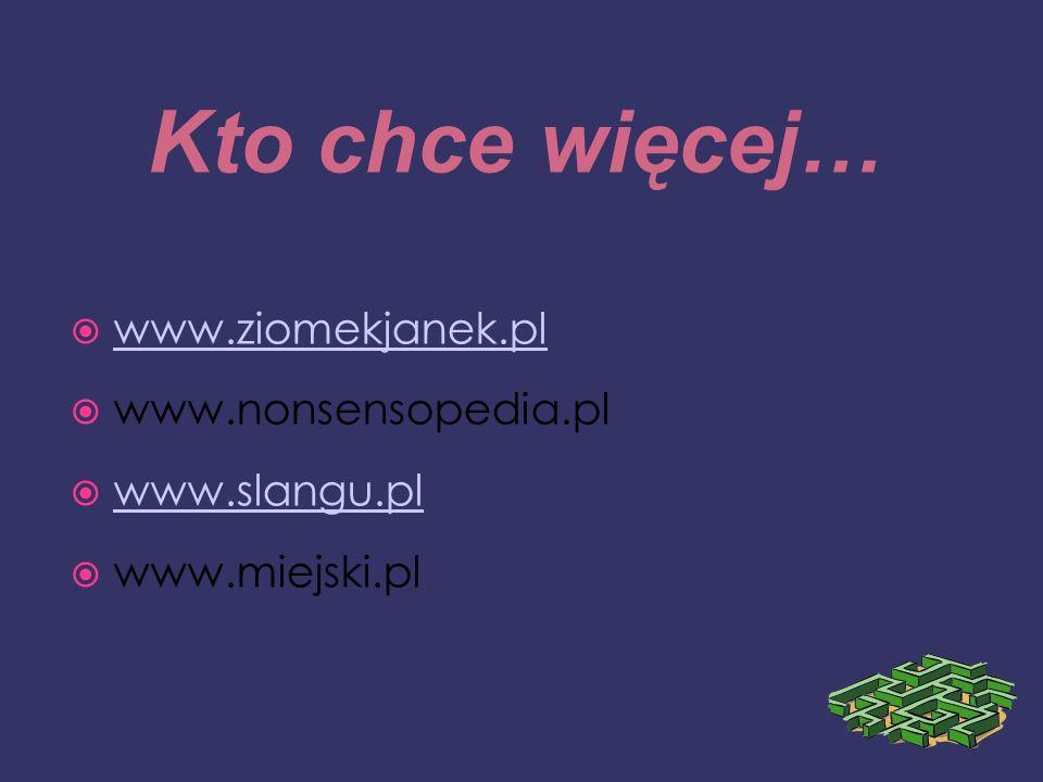 Kto chce więcej… www.ziomekjanek.pl www.nonsensopedia.pl www.slangu.pl