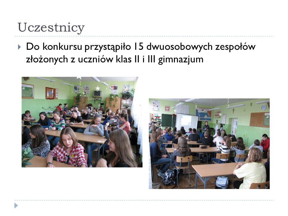 Uczestnicy Do konkursu przystąpiło 15 dwuosobowych zespołów złożonych z uczniów klas II i III gimnazjum.