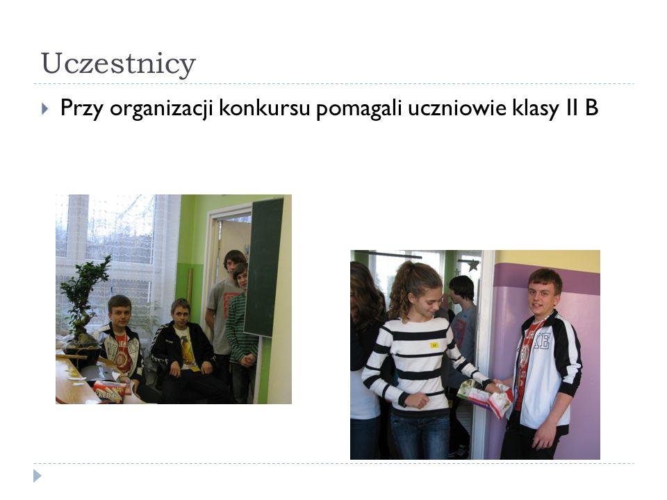 Uczestnicy Przy organizacji konkursu pomagali uczniowie klasy II B
