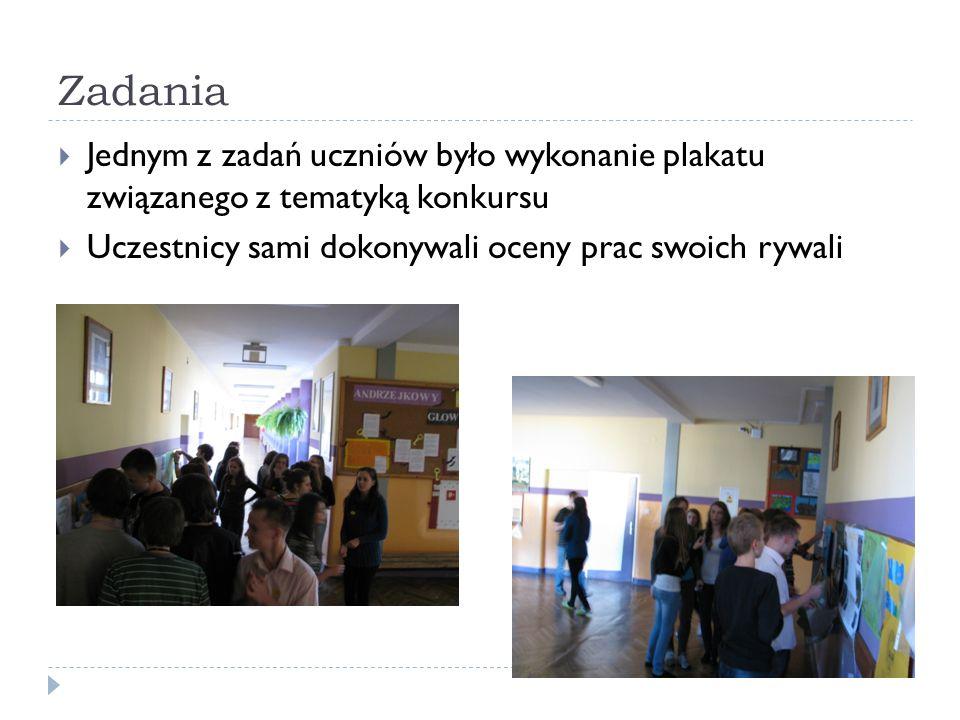 Zadania Jednym z zadań uczniów było wykonanie plakatu związanego z tematyką konkursu.