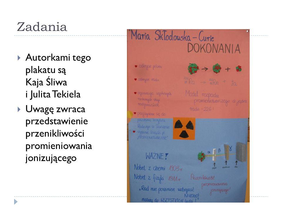 Zadania Autorkami tego plakatu są Kaja Śliwa i Julita Tekiela