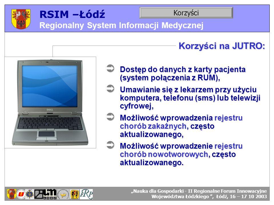 RSIM –Łódź Korzyści na JUTRO: Regionalny System Informacji Medycznej