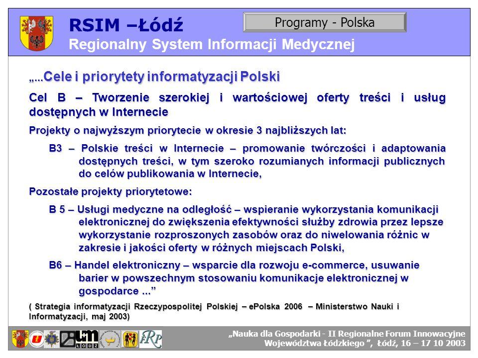 RSIM –Łódź Regionalny System Informacji Medycznej Programy - Polska
